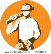 Vector Clip Art of Retro Stencil Styled Construction Worker Builder Carrying a Spirit Level on His Shoulder in an Orange Circle by Patrimonio