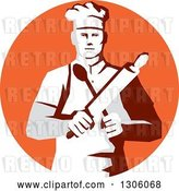 Vector Clip Art of Retro Stencil Styled Cook Holding a Spoon and Rolling Pin in an Orange Circle by Patrimonio