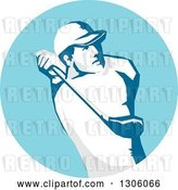 Vector Clip Art of Retro Stencil Styled Male Golfer Swinging in a Blue Circle by Patrimonio