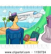 Vector Clip Art of Retro Stewardess with Documents and Luggage Under a Plane by BNP Design Studio