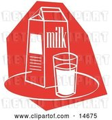 Vector Clip Art of Retro Still Life of a Whole Glass of Milk by a Milk Carton Clipart Illustration by Andy Nortnik