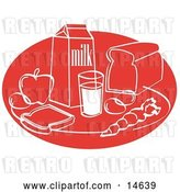 Vector Clip Art of Retro Still Life of Food Including Eggs, Apple, Carton of Milk, Glass of Milk, Sliced Bread, and a Carrot by Andy Nortnik