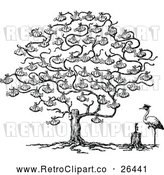 Vector Clip Art of Retro Stork and Baby Tree by Prawny Vintage