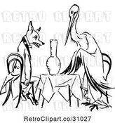 Vector Clip Art of Retro Stork and Fox Dining by Prawny Vintage