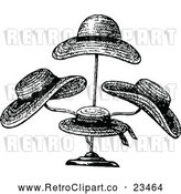 Vector Clip Art of Retro Straw Hats on a Stand by Prawny Vintage