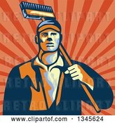 Vector Clip Art of Retro Street Cleaner Guy with a Broom over Rays by Patrimonio