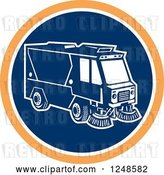 Vector Clip Art of Retro Street Cleaner Machine in a Blue and Orange Circle by Patrimonio