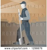 Vector Clip Art of Retro Street Cleaner with a Broom Against Brown by Patrimonio