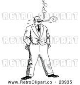 Vector Clip Art of Retro Stressed Man Smoking by Prawny Vintage