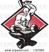 Vector Clip Art of Retro Strong Blacksmith Forging a Barbell on an Anvil over a Diamond of Rays on Red by Patrimonio