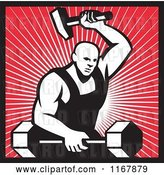 Vector Clip Art of Retro Strong Blacksmith Forging a Barbell over Rays and Outlined in Red by Patrimonio