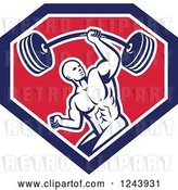 Vector Clip Art of Retro Strong Bodybuilder Guy Lifting a Barbell with One Hand in a Shield by Patrimonio