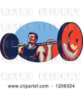 Vector Clip Art of Retro Strong Bodybuilder Lifting a Barbell over a Red and Blue Oval by Patrimonio