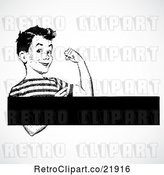 Vector Clip Art of Retro Strong Boy Flexing with a Text Box by BestVector