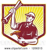 Vector Clip Art of Retro Strong Carpenter Guy Holding a Hammer and Blueprints over a Ray Shield Crest by Patrimonio
