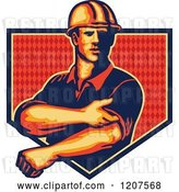 Vector Clip Art of Retro Strong Construction Worker Rolling up His Sleeves over a Diamond Patterned Shield by Patrimonio