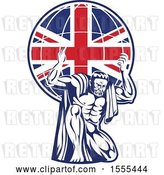 Vector Clip Art of Retro Strong Guy, Atlas, Kneeling and Holding a Uk Flag Globe on His Shoulders by Patrimonio
