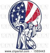 Vector Clip Art of Retro Strong Guy, Atlas, Kneeling and Holding an American Flag Globe on His Shoulders by Patrimonio