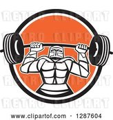 Vector Clip Art of Retro Strong Knight Working out with a Barbell in a Black White and Orange Circle by Patrimonio