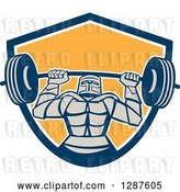 Vector Clip Art of Retro Strong Knight Working out with a Barbell in a Blue White and Yellow Shield by Patrimonio