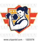 Vector Clip Art of Retro Strong Lady Doing Bicep Curls with a Dumbbell over a Shield by Patrimonio