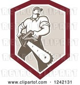 Vector Clip Art of Retro Strong Male Arborist with a Chainsaw in a Shield by Patrimonio