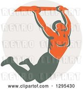 Vector Clip Art of Retro Strong Male Bodybuilder Doing Pull Ups on a Bar over a Taupe Circle by Patrimonio