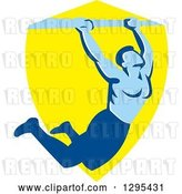 Vector Clip Art of Retro Strong Male Bodybuilder Doing Pull Ups on a Bar over a Yellow Shield by Patrimonio