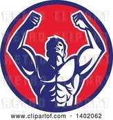Vector Clip Art of Retro Strong Male Bodybuilder Holding His Arms up and Flexing in a Blue Red and White Circle by Patrimonio