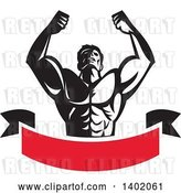 Vector Clip Art of Retro Strong Male Bodybuilder Holding His Arms up and Flexing over a Red Banner by Patrimonio