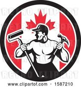 Vector Clip Art of Retro Strong Male Painter or Handy Guy in a Canadian Flag Circle by Patrimonio
