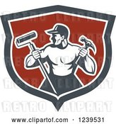 Vector Clip Art of Retro Strong Male Painter or Handy Guy in a Shield by Patrimonio