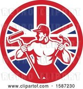 Vector Clip Art of Retro Strong Male Painter or Handy Guy in a Union Jack Flag Circle by Patrimonio