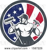Vector Clip Art of Retro Strong Male Painter or Handy Guy in an American Flag Circle by Patrimonio