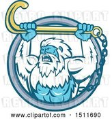 Vector Clip Art of Retro Strong Yeti Holding up a Towing J Hook in a Circle by Patrimonio