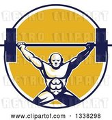 Vector Clip Art of Retro Strongman Bodybuilder Lifting a Barbell over His Head in a Blue White and Yellow Circle by Patrimonio