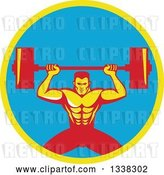 Vector Clip Art of Retro Strongman Bodybuilder Lifting a Barbell over His Head in a Yellow and Blue Circle by Patrimonio