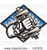Vector Clip Art of Retro Strongman with Chains and a Dumbbell in Hand, Crashing Through a Blue Diamond by Patrimonio