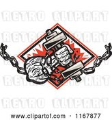 Vector Clip Art of Retro Strongman with Chains and a Dumbbell in Hand, Crashing Through a Red Diamond by Patrimonio