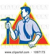 Vector Clip Art of Retro Styled Architect Holding a T-Square Drafting Tool over a Triangle by Patrimonio