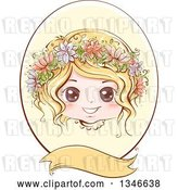 Vector Clip Art of Retro Styled Blond White Girl with Flowers in Her Hair, Inside an Oval Frame with a Blank Banner by BNP Design Studio