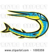 Vector Clip Art of Retro Styled Blue and Yellow Needle Fish Jumping by Patrimonio