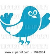 Vector Clip Art of Retro Styled Blue Bird Waving or Listening 2 by Vector Tradition SM