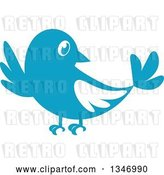 Vector Clip Art of Retro Styled Blue Bird Waving or Listening by Vector Tradition SM