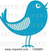 Vector Clip Art of Retro Styled Blue Bird with a Polka Dot Wing by Vector Tradition SM