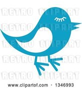 Vector Clip Art of Retro Styled Blue Bird with Lashes by Vector Tradition SM