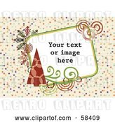Vector Clip Art of Retro Styled Christmas Box with Sample Text on a Tiled Background by MilsiArt