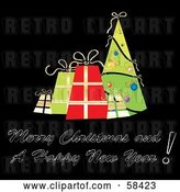 Vector Clip Art of Retro Styled Christmas Greeting with Presents and a Tree on Black by MilsiArt
