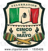 Vector Clip Art of Retro Styled Cinco De Mayo Design with a Mexican Flag and Maracas by Vector Tradition SM