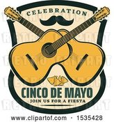 Vector Clip Art of Retro Styled Cinco De Mayo Design with a Mustache, Guitars and Tortilla Chips by Vector Tradition SM